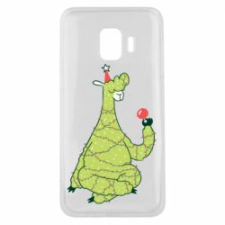 Чехол для Samsung J2 Core Green llama with a garland