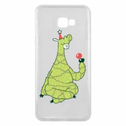 Чехол для Samsung J4 Plus 2018 Green llama with a garland