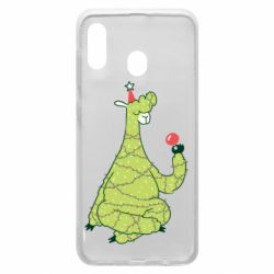 Чехол для Samsung A20 Green llama with a garland
