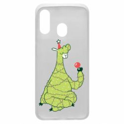 Чехол для Samsung A40 Green llama with a garland