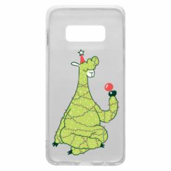 Чехол для Samsung S10e Green llama with a garland