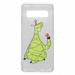 Чехол для Samsung S10 Green llama with a garland