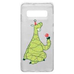Чехол для Samsung S10+ Green llama with a garland