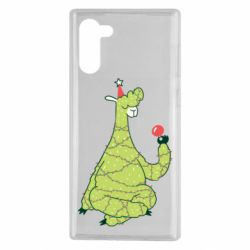 Чехол для Samsung Note 10 Green llama with a garland