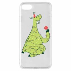 Чехол для iPhone 7 Green llama with a garland