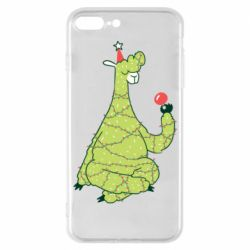 Чехол для iPhone 7 Plus Green llama with a garland