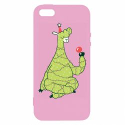 Чехол для iPhone5/5S/SE Green llama with a garland