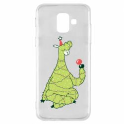 Чехол для Samsung A6 2018 Green llama with a garland
