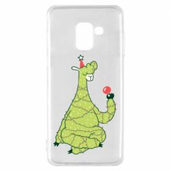 Чехол для Samsung A8 2018 Green llama with a garland