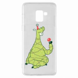 Чехол для Samsung A8+ 2018 Green llama with a garland