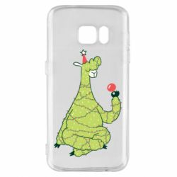 Чехол для Samsung S7 Green llama with a garland