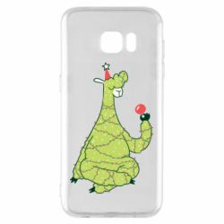 Чехол для Samsung S7 EDGE Green llama with a garland