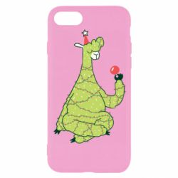 Чехол для iPhone 8 Green llama with a garland