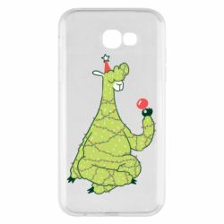 Чехол для Samsung A7 2017 Green llama with a garland