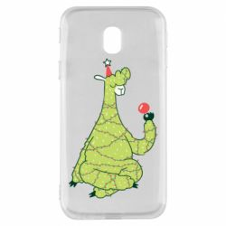 Чехол для Samsung J3 2017 Green llama with a garland