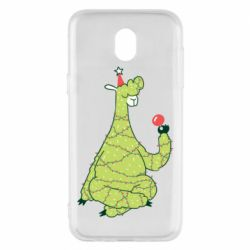 Чехол для Samsung J5 2017 Green llama with a garland