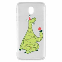 Чехол для Samsung J7 2017 Green llama with a garland
