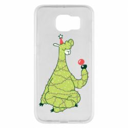 Чехол для Samsung S6 Green llama with a garland