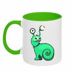 Кружка двухцветная 320ml Green monster snail