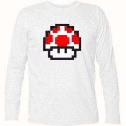 Футболка с длинным рукавом Гриб Марио в пикселях - FatLine