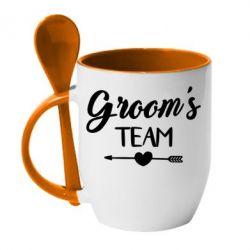 Кружка с керамической ложкой Groom's team