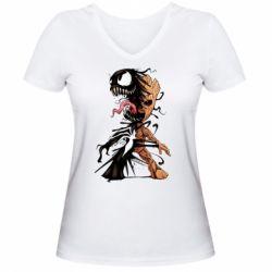 Жіноча футболка з V-подібним вирізом Groot and Venom