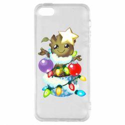 Купить Стражи Галактики, Чехол для iPhone5/5S/SE Groot in the garland, FatLine
