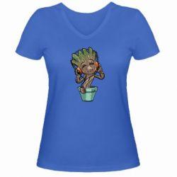 Женская футболка с V-образным вырезом Groot - FatLine