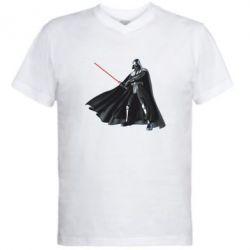 Мужская футболка  с V-образным вырезом Грозный Дарт Вейдер - FatLine