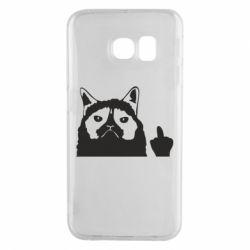 Чохол для Samsung S6 EDGE Grumpy cat F**k Off