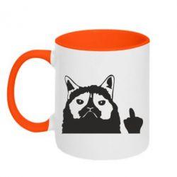 Кружка двоколірна 320ml Grumpy cat F**k Off