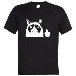 Чоловіча футболка з V-подібним вирізом Grumpy cat F**k Off