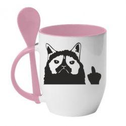 Кружка з керамічною ложкою Grumpy cat F**k Off