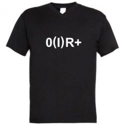 Мужская футболка  с V-образным вырезом Группа крови (1)0+