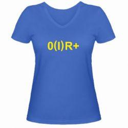 Женская футболка с V-образным вырезом Группа крови (1)0+