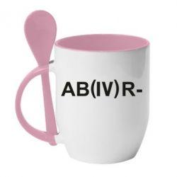 Кружка з керамічною ложкою Група крові (4) АВ-