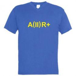 Мужская футболка  с V-образным вырезом Группа крови (2)А+