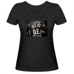 Женская футболка с V-образным вырезом Группа Океан Ельзы - FatLine