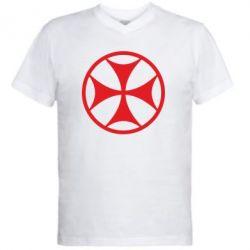 Мужская футболка  с V-образным вырезом Грузинский Крест - FatLine