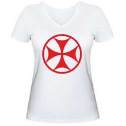 Женская футболка с V-образным вырезом Грузинский Крест