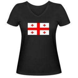 Женская футболка с V-образным вырезом Грузия - FatLine