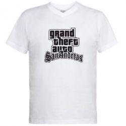 Мужская футболка  с V-образным вырезом GTA San Andreas - FatLine