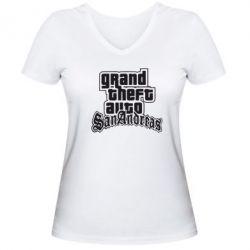 Женская футболка с V-образным вырезом GTA San Andreas - FatLine