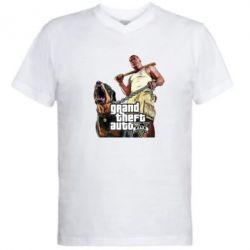 Мужская футболка  с V-образным вырезом GTA V Logo - FatLine