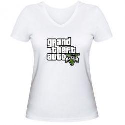 Женская футболка с V-образным вырезом GTA V Maine Logo