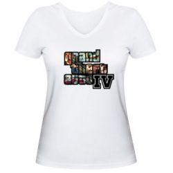 Женская футболка с V-образным вырезом GTA V - FatLine
