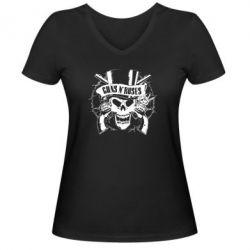 Женская футболка с V-образным вырезом Guns n' Roses Logo - FatLine