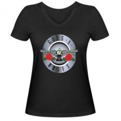 Женская футболка с V-образным вырезом Guns n' Roses