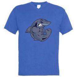 Мужская футболка  с V-образным вырезом Gym Shark - FatLine