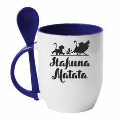 Кружка з керамічною ложкою Hakuna Matata